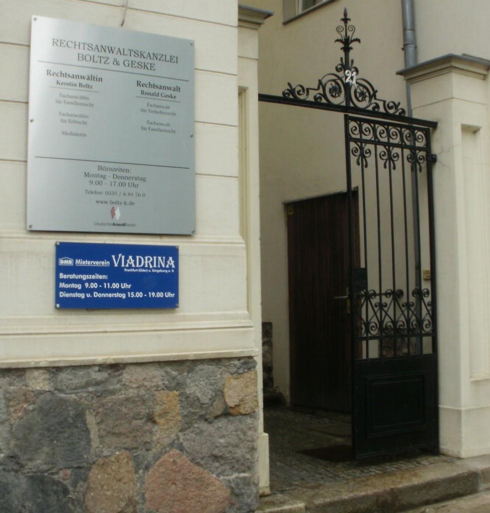 Mieterverein Viadrina, Eingang FFO Halbe Stadt 21